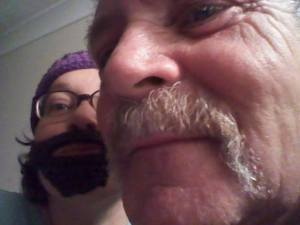 Me and my Dad. His moustache is real. image by The Naughty Corner